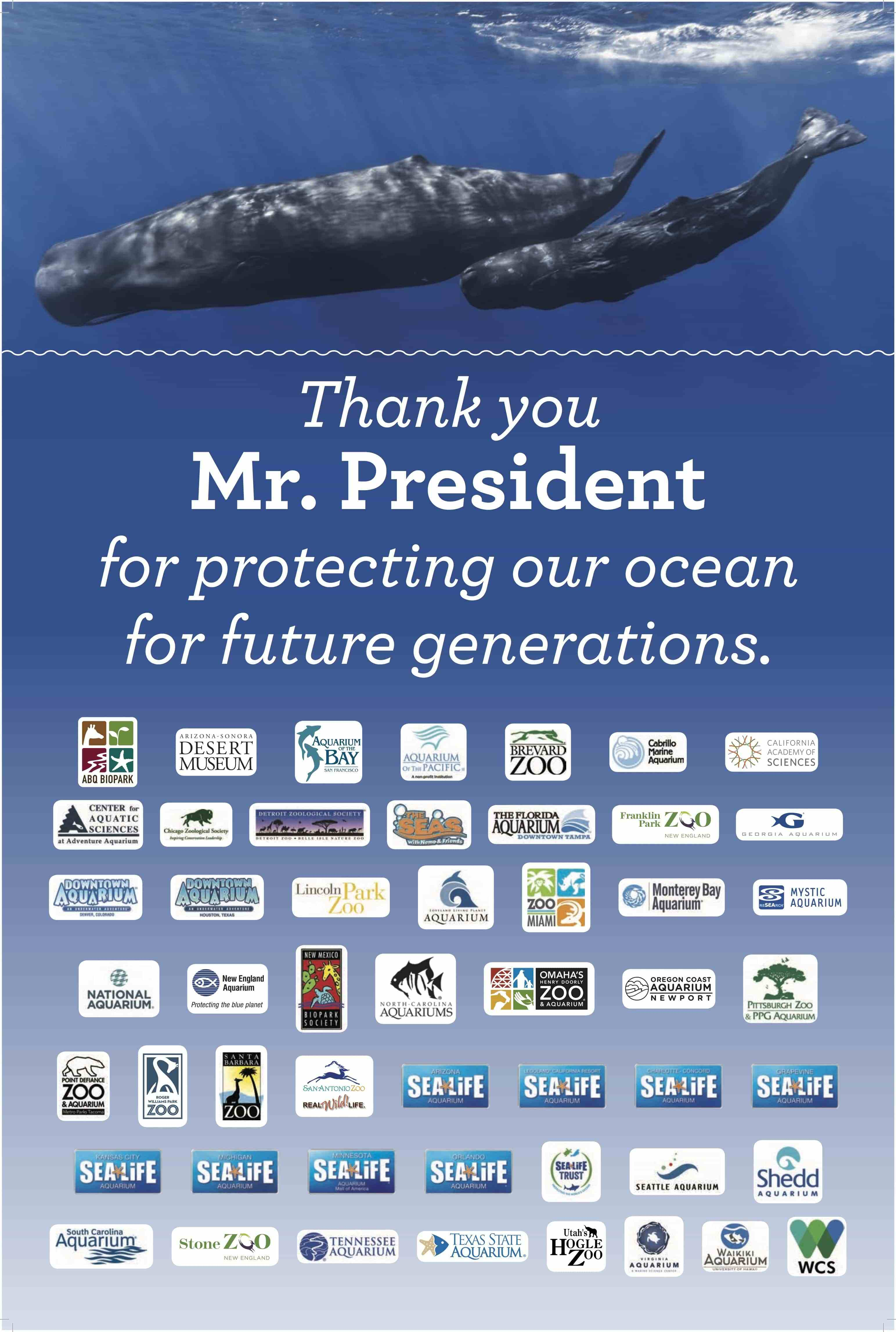 This poster-sized thank you card was delivered in December 2015 to the White House Council on Environmental Quality and the NOAA Chief of Staff, and now hangs on their respective walls.